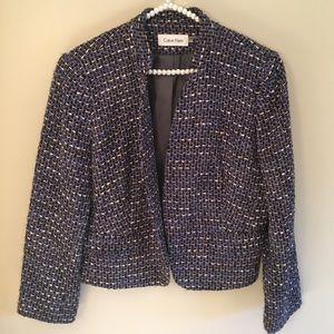 Calvin Klein open front blue wool blend blazer 14
